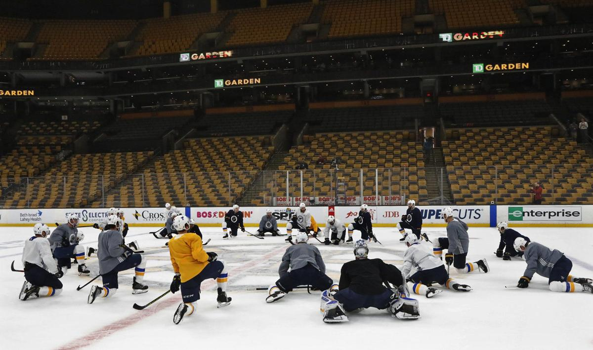 Blues and Bruins practice before the Stanley Cup
