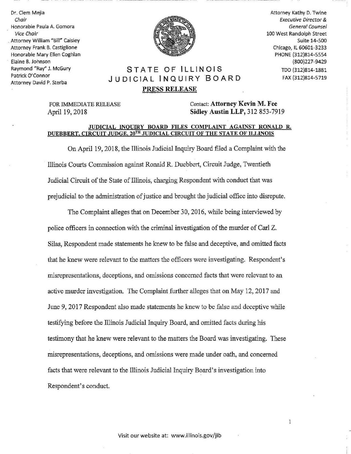 Complaint against Ronald Duebbert