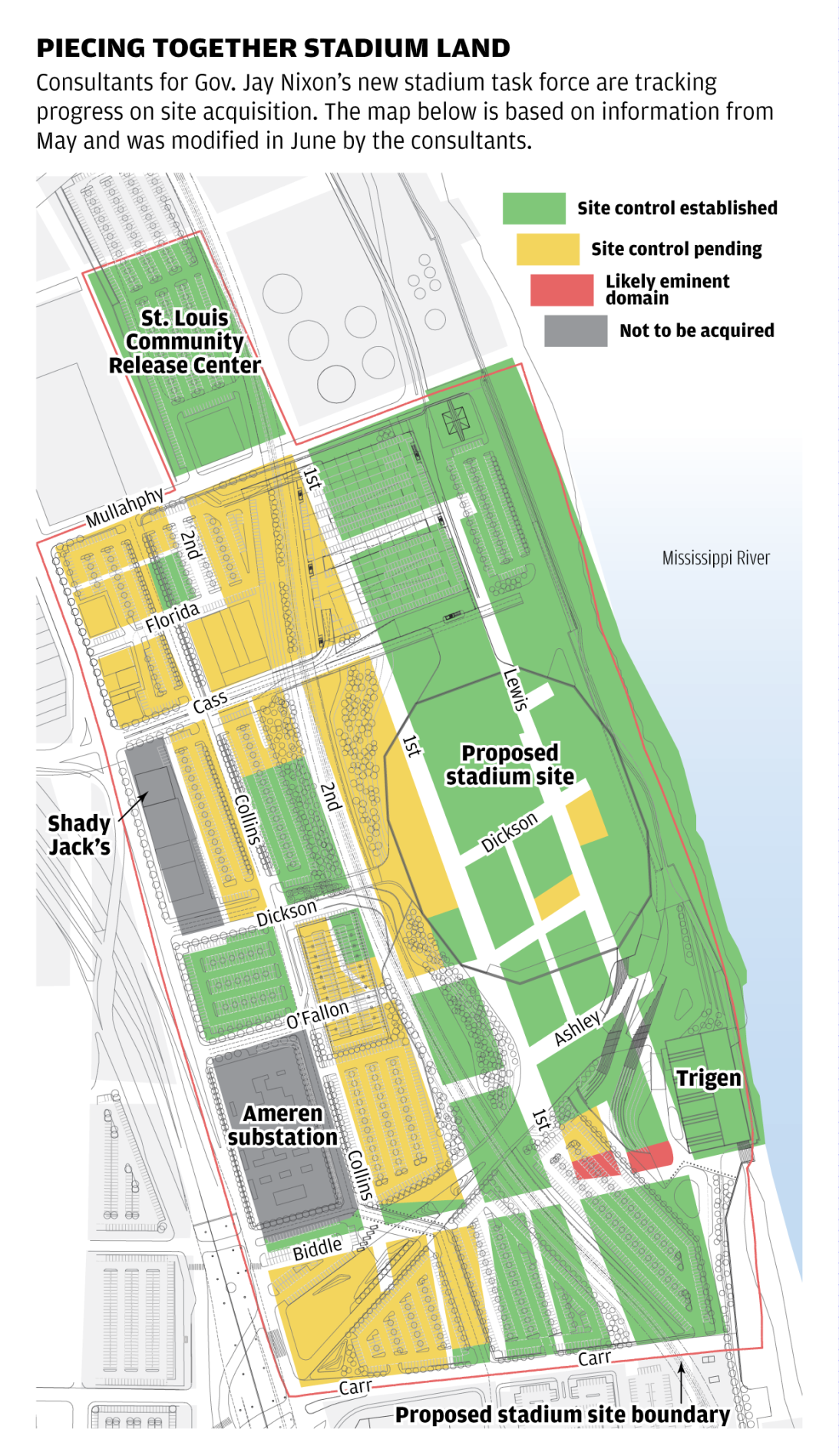 Map: Piecing together stadium land