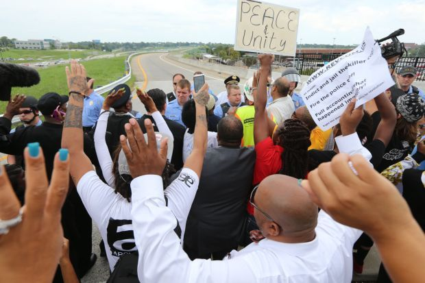 Protesters at I-70