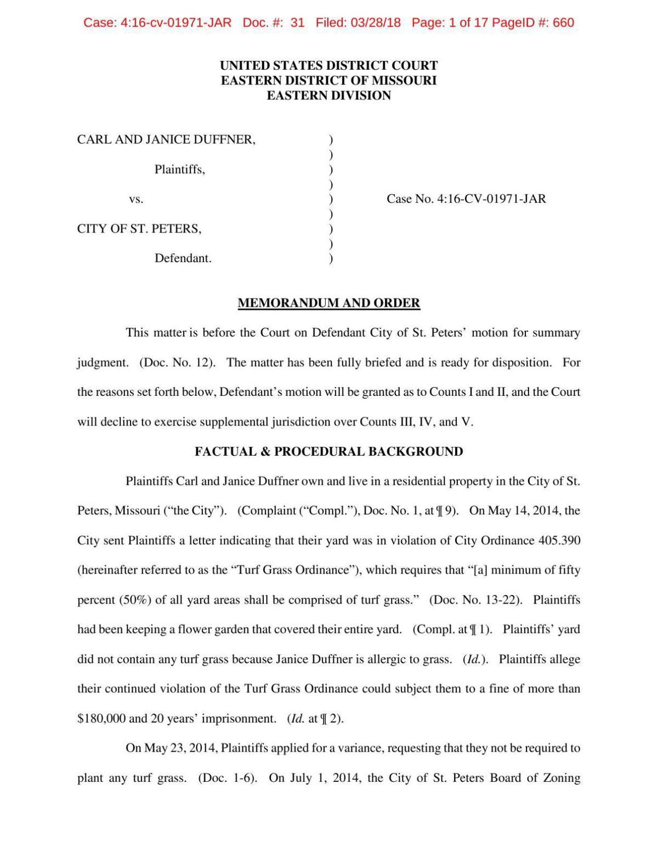 Duffner ruling