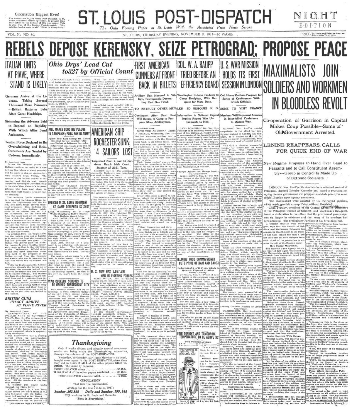 Nov. 8, 1917 front page of the post-dispatch