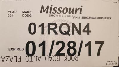 Temporary license plate