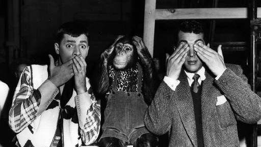 Image result for Actors from left, Jerry Lewis, Pierre, and Dean Martin, clown for the camera July 13, 1950 in a Hollywood press agent's version of an old Chines proverb. (AP photo)