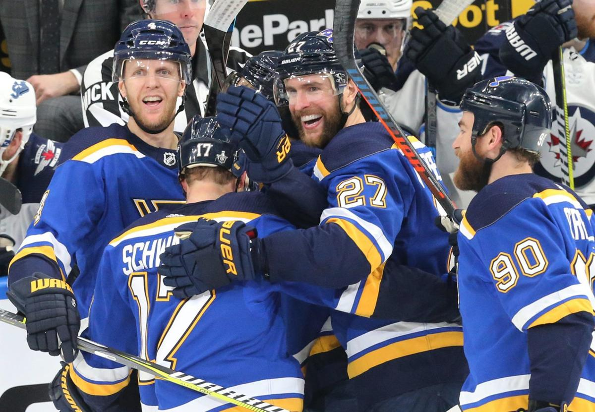 4ad4fe9b079 St. Louis Blues. Close. 1 of 5. The Blues and Jets skate in critical game 6