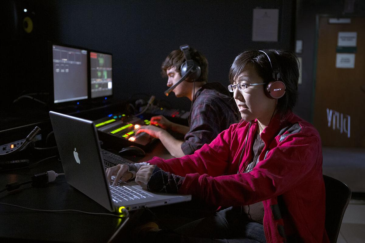 Students utilize studio video editing software as part of a communications class at Drury University.