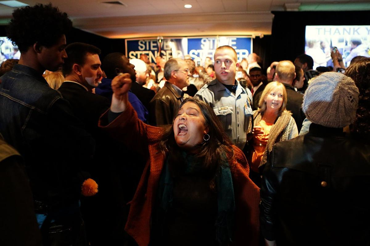 Protesters at Steve Stenger watch party
