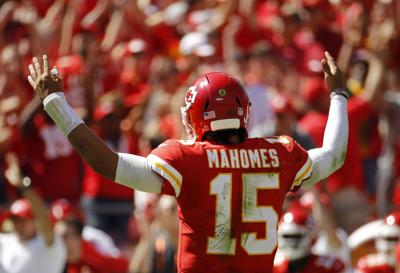 77db255cda6 49ers Chiefs Football. Kansas City Chiefs quarterback Patrick Mahomes (15)  celebrates after his third touchdown pass of the game during the first ...