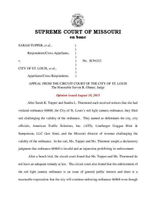 Supreme Court decision: Tupper, et al. v. City of St. Louis