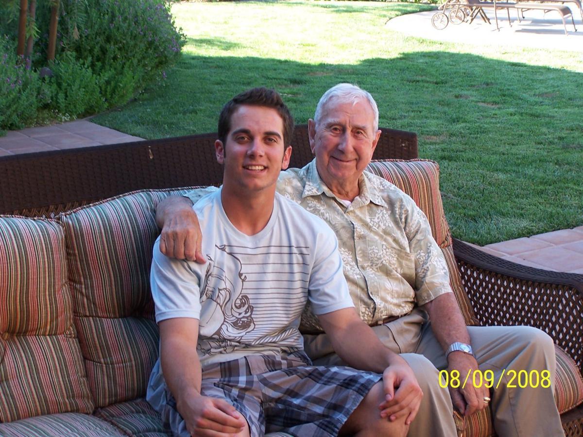 "Cardinals infielder Greg Garcia and his grandfather, Dave ""Pop"" Garcia"