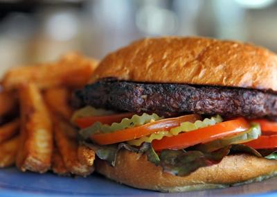 The Boathouse in Forest Park: Black bean and corn veggie burger