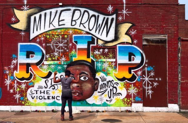Tribute to Michael Brown sprouts in north St. Louis