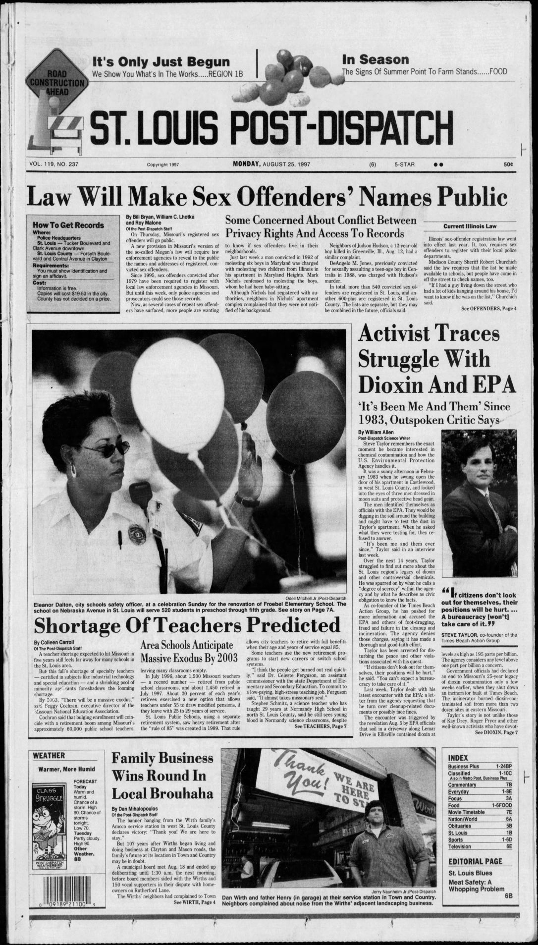 Aug  25 Post-Dispatch page 1: The stories of the day from decades