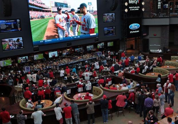 Fans watch St. Louis Cardinals season opener at Ballpark Village