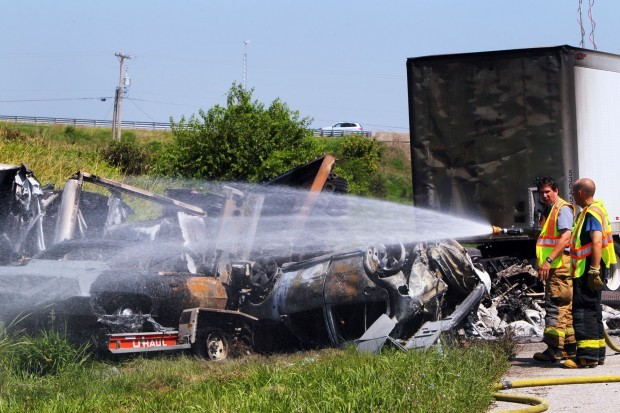 Fiery crash closes I-64 near New Baden | Illinois | stltoday com