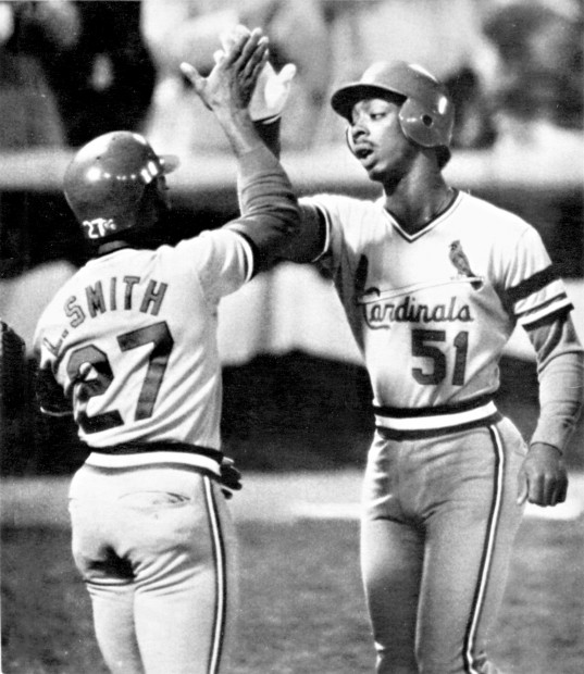 15 1982 Cardinals Batter Willie McGee Is Greeted By Teammate Lonnie Smith After Homering With Two On In The Fifth Inning Of Friday Nights World Series