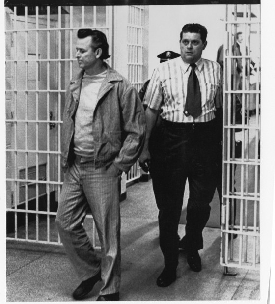 James Earl Ray is escorted inside the Tennessee State Prison in Nashville on April 26, 1973.