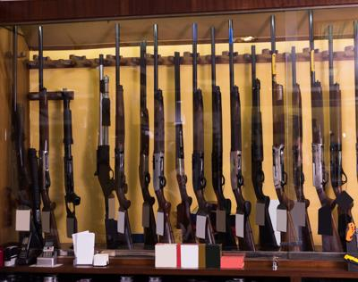 Gun store interior with different firearms