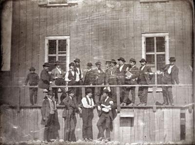 Outside a slave pen, 1852