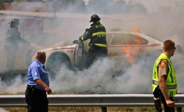 Police chase ends with car fire