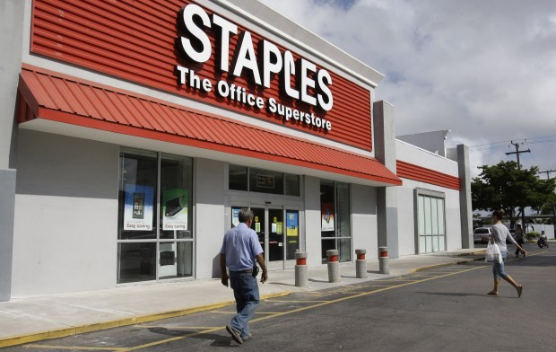 A Staples Office Supply Store In Miami. (AP Photo/ Lynne Sladky)