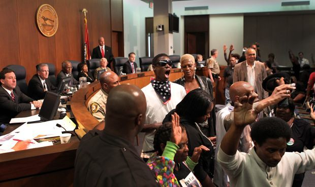Ferguson protesters speak before St. Louis County Council