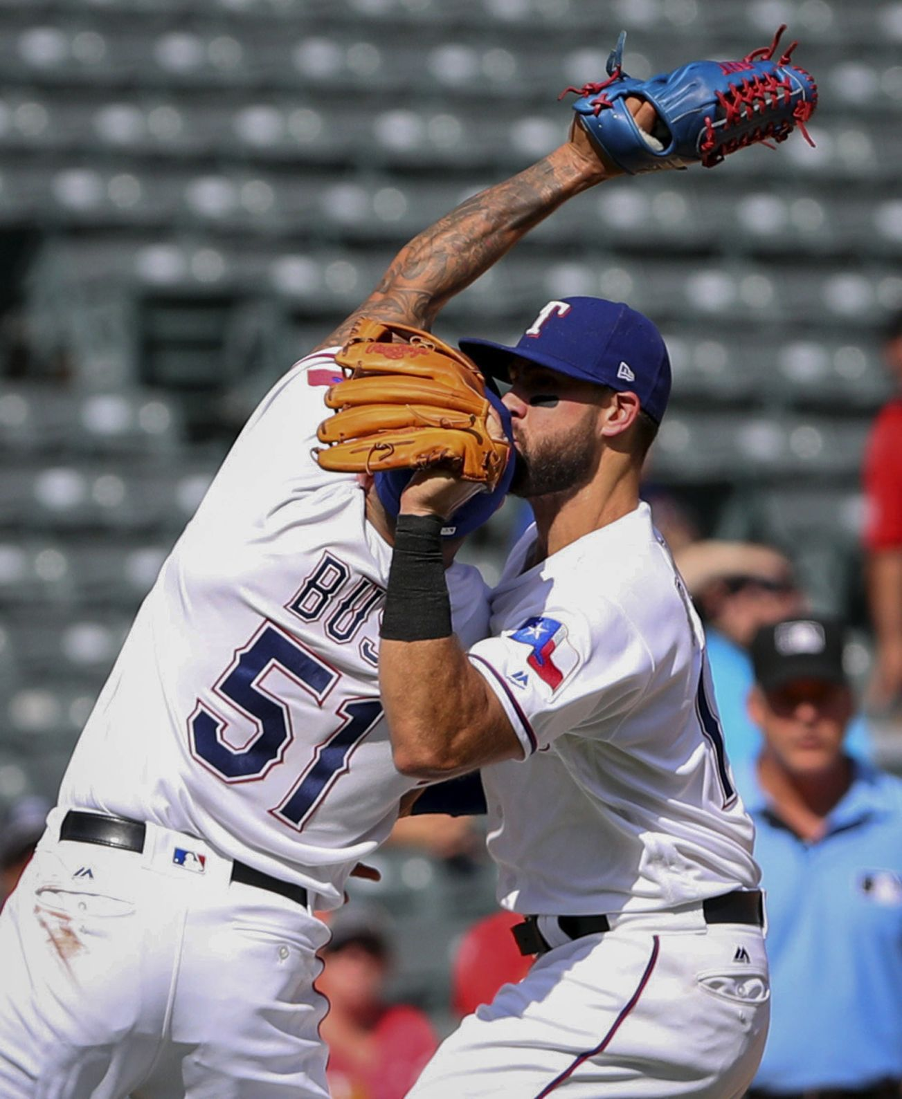 Joey Gallo (head) out for the Rangers on Monday