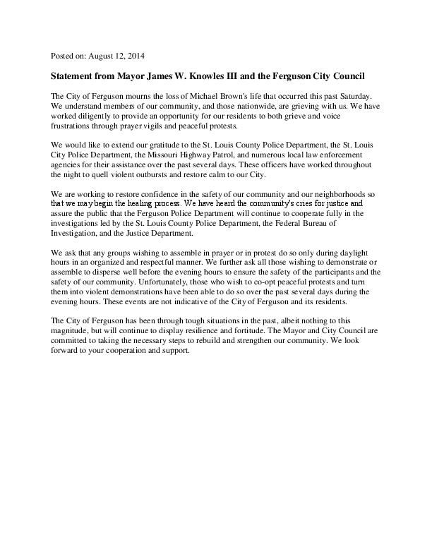 Ferguson statement on Brown shooting, call for daylight-only protests