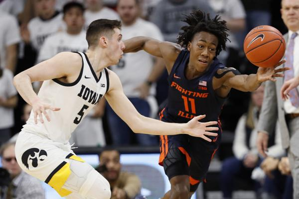 Illinois' sophomore guard, Ayo Dosunmu played well in his team's win over Iowa. (Photo: Charlie Neibergall/The St. Louis Post Dispatch)