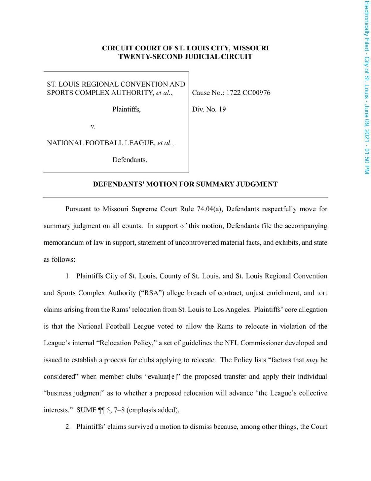 NFL, Rams and Kroenke's motion for summary judgment