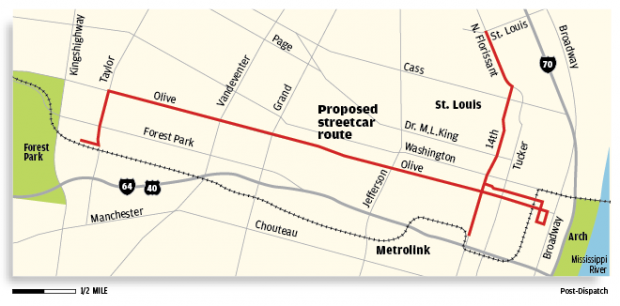 Proposed streetcar route map