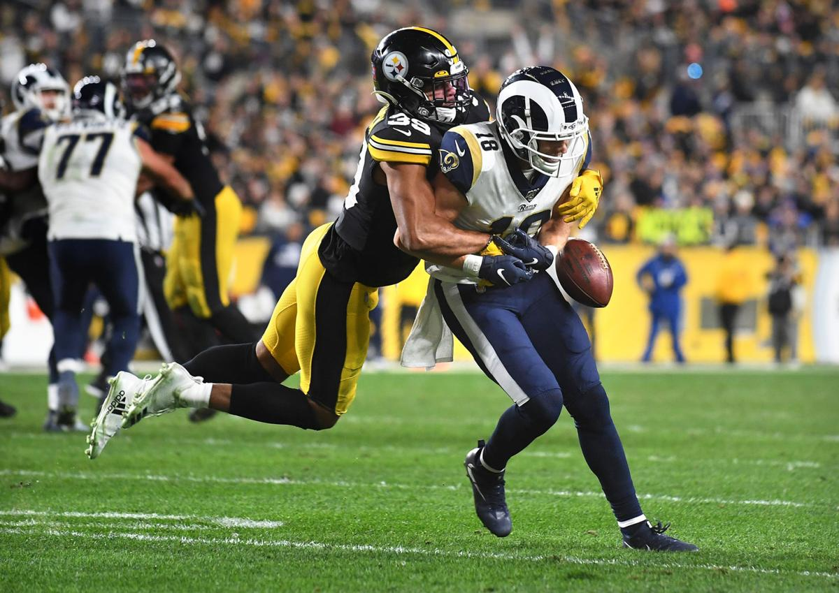 Los Angeles Rams receiver Cooper Kupp drops a pass as Pittsburgh Steelers safety Minkah Fitzpratrick defends in the third quarter on Sunday, Nov. 10, 2019 at Heinz Field in Pittsburgh, Pa.