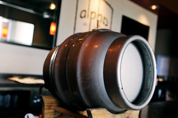 A firkin of beer at Alpha Brewing Co.