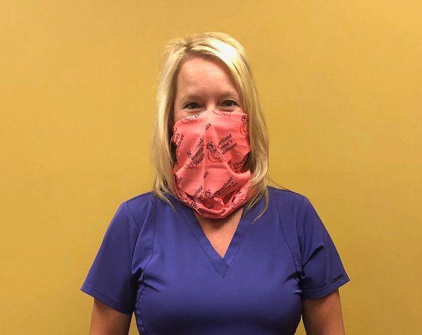 Marla Smith, WHNP Wearing Heartland Women's Healthcare Bandana Mask