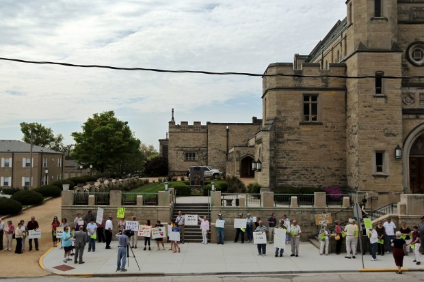 Supporters of Rev. Rowe protest in Belleville