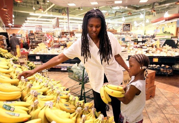 Raw foods shopping at Whole Foods in Brentwood