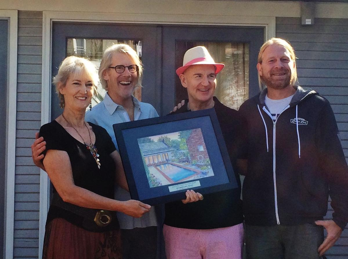 Artist Leisa Collins, Awardees Ray Simon and Mal Pashea and Alderman Dan Guenther