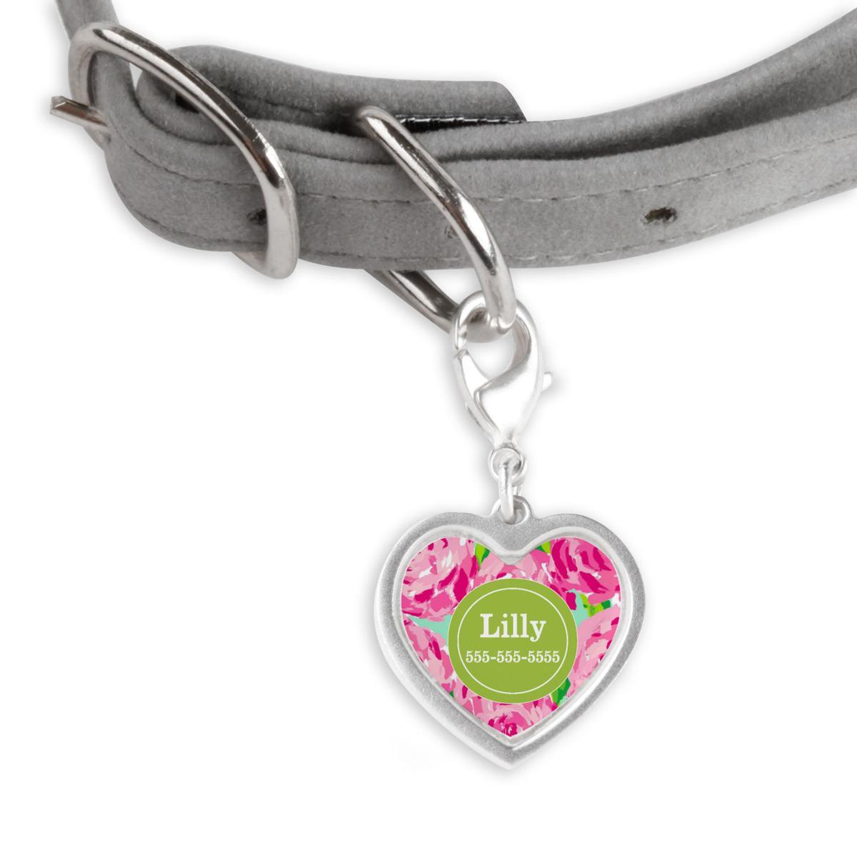 Pink roses pet tag