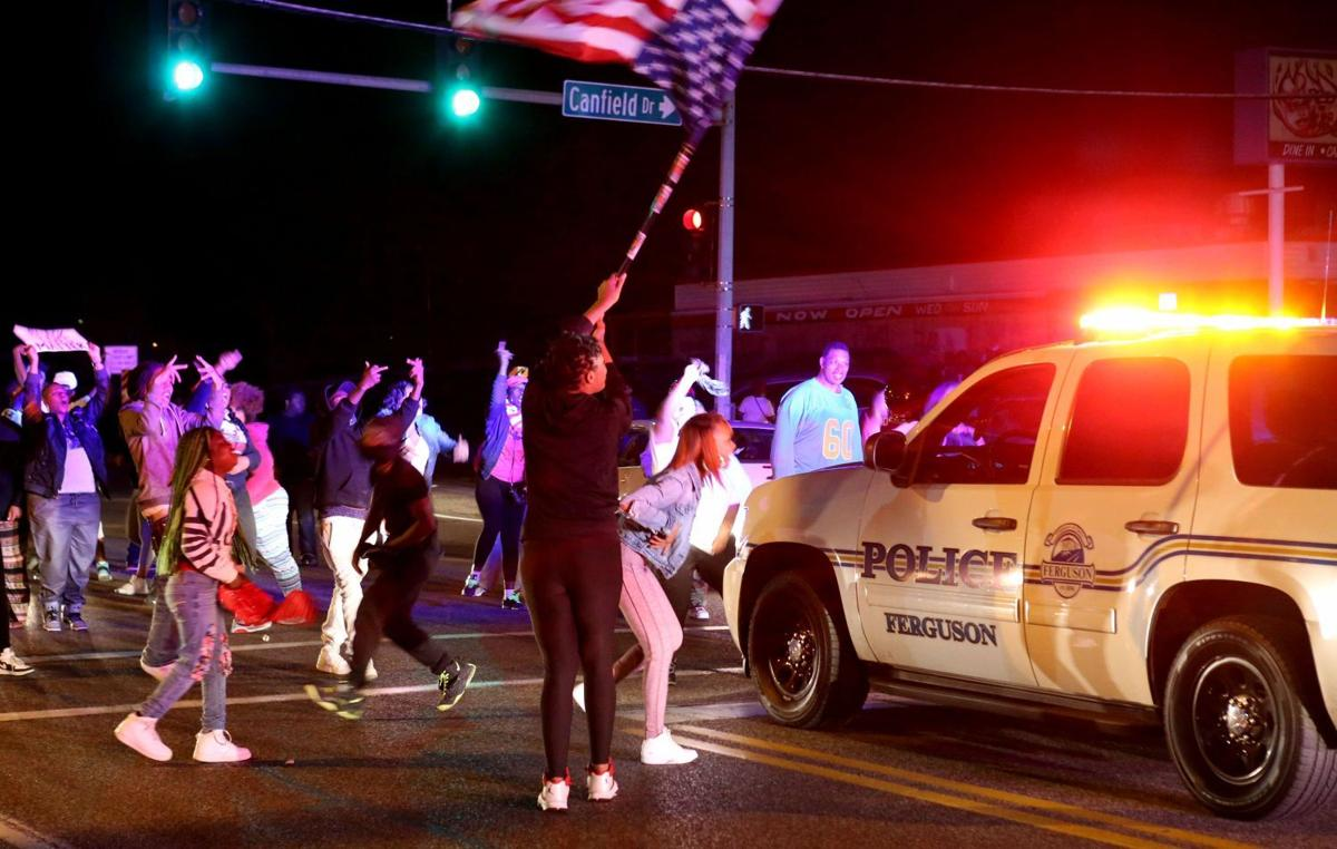 Protester block West Florrisant Avenue in Ferguson