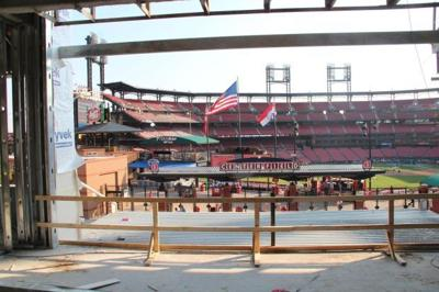 The view of Busch Stadium from inside the space that will be the Fox Sports Midwest TV studio at Ballpark Village
