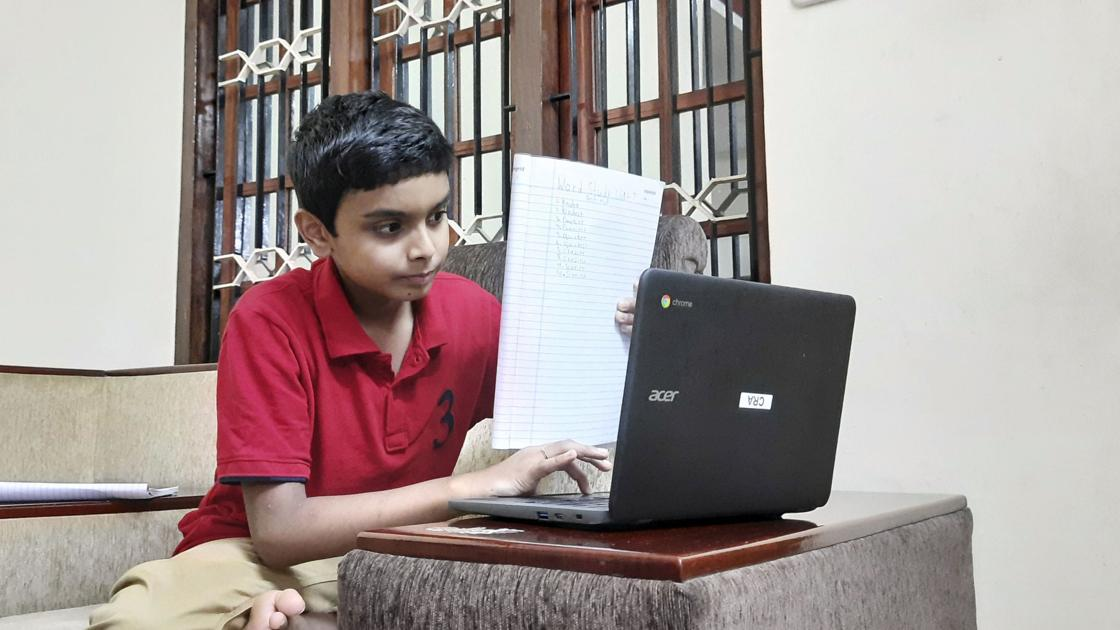 Families take distance learning around the world