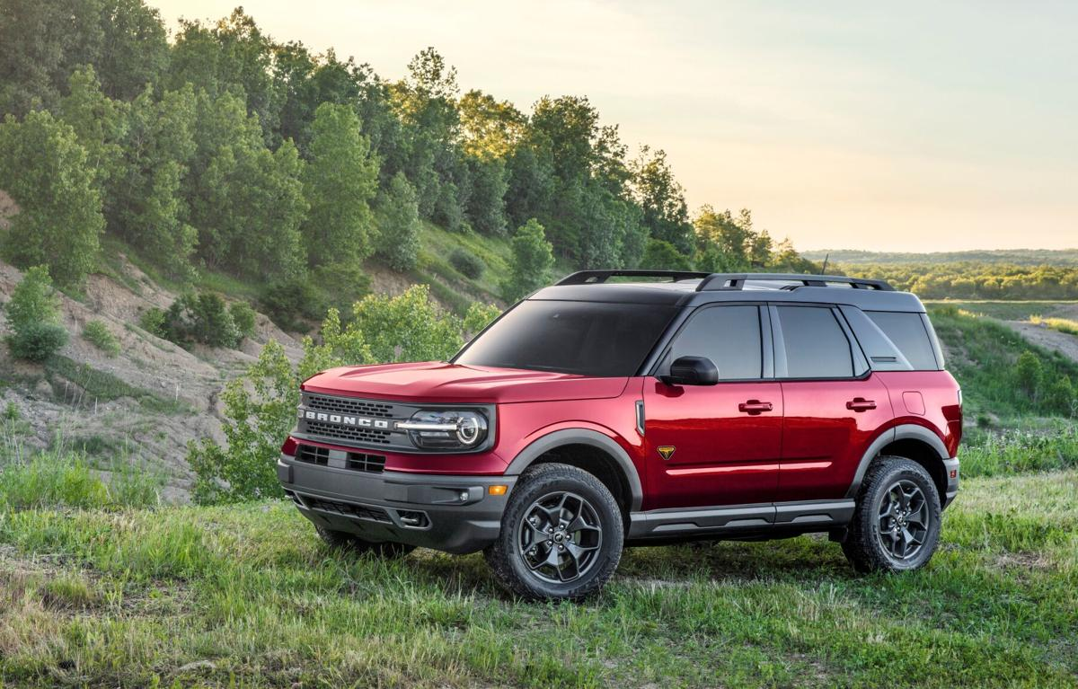 The all-new Bronco Sport Badlands edition wearing Rapid Red Metallic Tinted Clearcoat exterior paint.