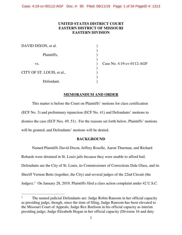 Read the cash bail lawsuit memorandum and order