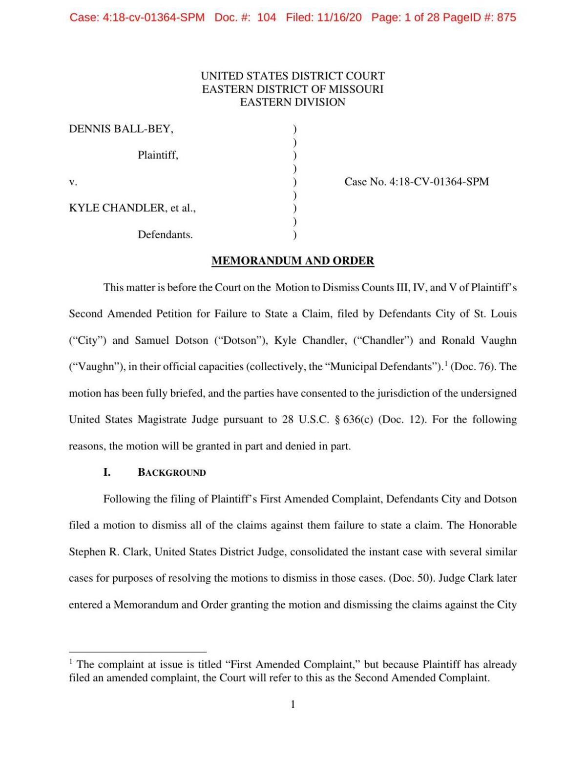 Judge's order in Ball-Bey case