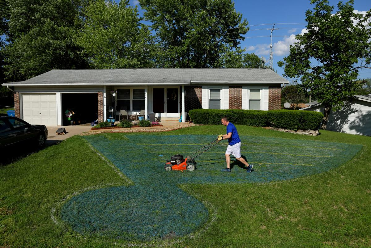 St. Louis Blues fan paints his yard with logo