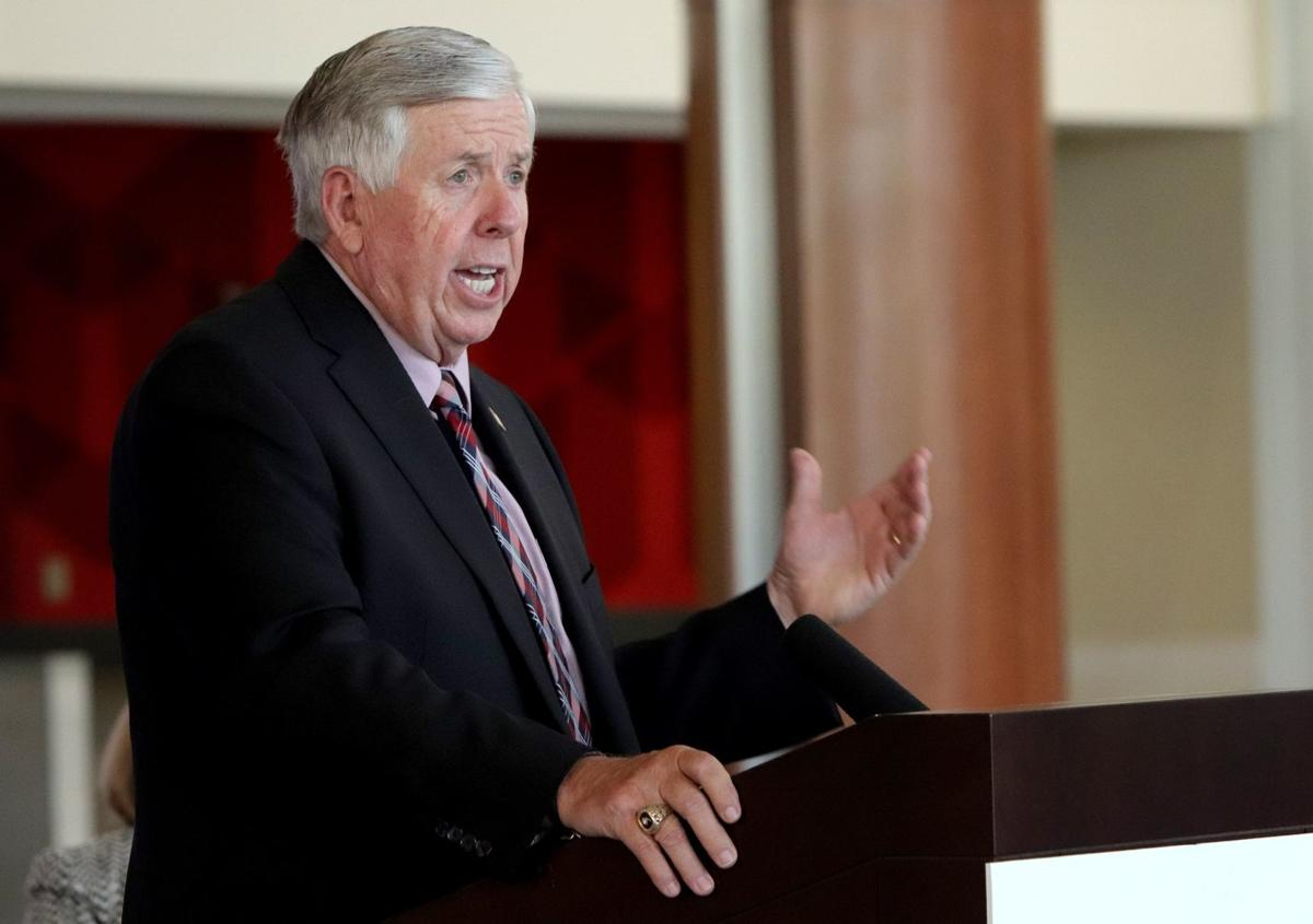 Mike Parson speaks at June news converence