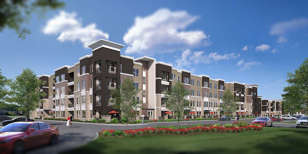 luxury apartment complex. Rendering Of Residences At Sunset Ridge Luxury Apartment Complex Underway In West County  Building Blocks