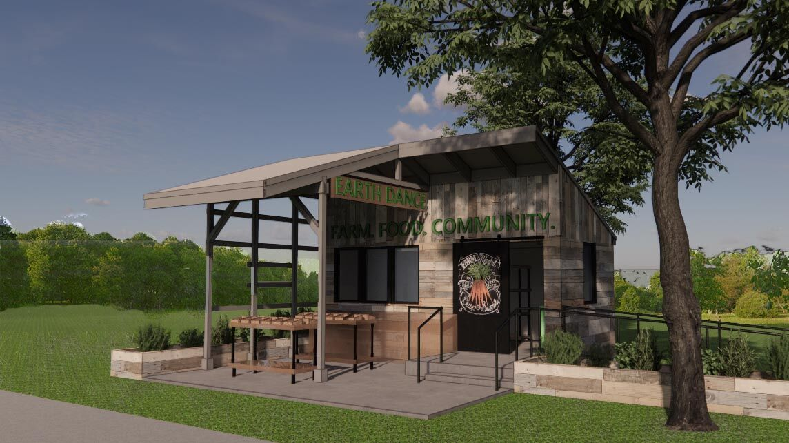 Rendering of EarthDance's new Pay What You Can Farm Stand, courtesy of Tao + Lee Associates.