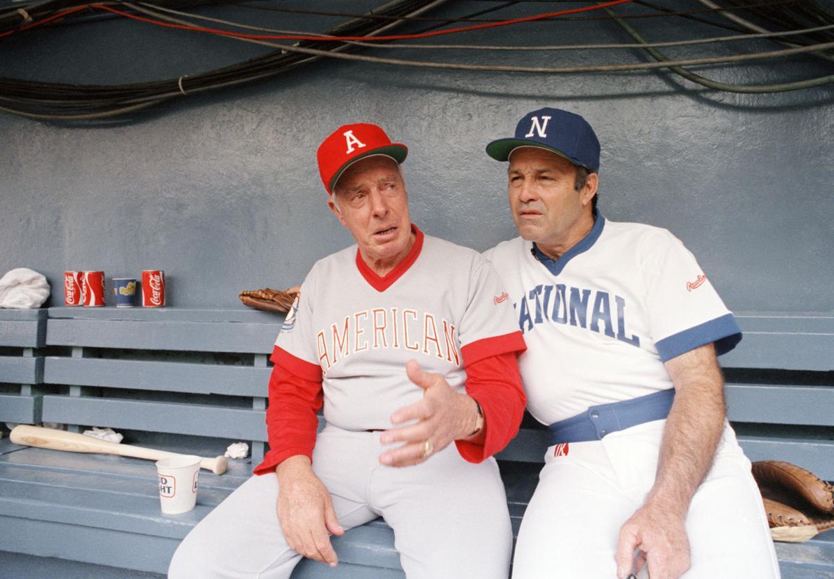 Joe DiMaggio and Joe Garagiola at the Cracker Jack Old-Timers Classic in RFK Stadium, Washington, D.C