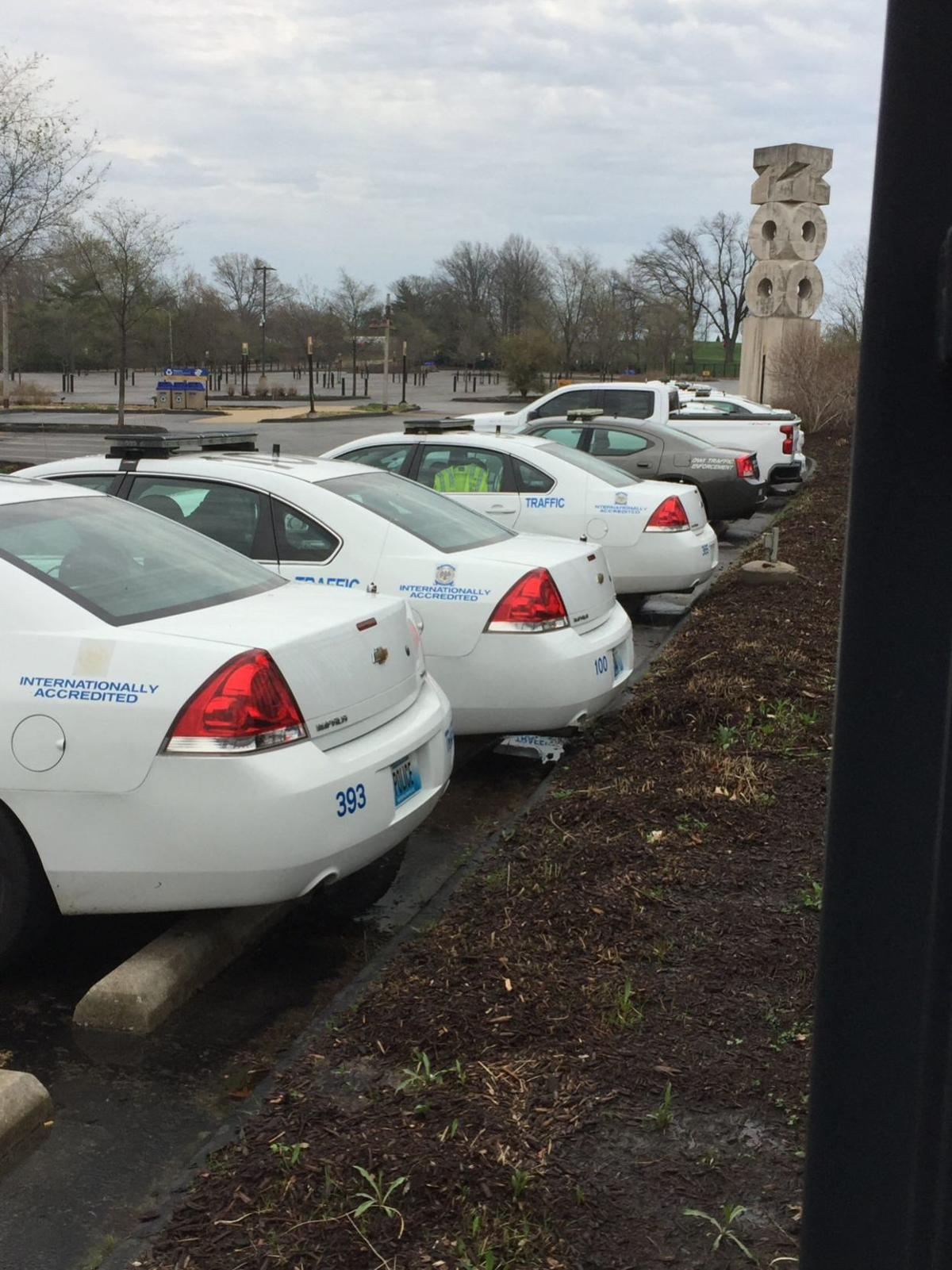 Police cars parked at Zoo